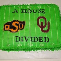 Ou / Osu Football House Divided Choc cake with buttercream icing. Groom was OU fan & the Bride was OSU.
