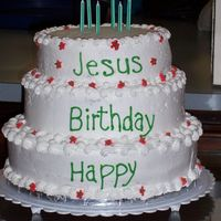 Happy Birthday Jesus 3 tiered cake for church Christmas program. Top and bottom tiers are french vanilla, the middle tier is chocolate. They ordered it with the...
