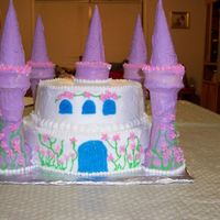 Castle Choc & Vanilla swirl cake w/ buttercream icing. Towers are ice cream cones dipped in almond bark.
