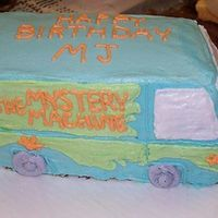 The Mystery Machine Choc & white cakes, cut and layered, filled with buttercream.