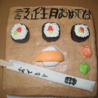 Sushi.jpg Cake with covered in fondant, with fondant sushi, and chop sticks. It says Happy Birthday in Japanese.