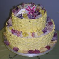 Yellow Basketweave With Crystallized Roses And Snapdragons  I made this cake for my grandparents' 70th Wedding Anniversary party on 6/11/06. It's a vanilla buttermilk cake with lemon and...