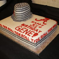Roll Tide Bryant Hat Cake Hat is filled with Strawberry filling.