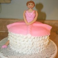 "Ballerina 6"" cake with lots of icing. Very easy."