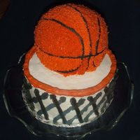 Basketball Cake Thanks to LISA for posting the pics of her cake, it was a great instructional post! .... My 9 year old loved it!!! ..... white mix, with BC...