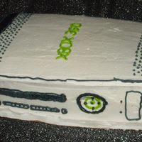 Xbox 360 Birthday Cake Tried my luck at an XBOX 360 cake for the son of a friend.Yellow Cake w/ BC Icing. Kind of a rush, not much time started at 11 ended at 2am...