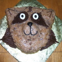 German Chocolate Raccoon   Little girl wanted a raccoon cake that was also German chocolate. This was the best I came up with. She loved it.