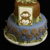 "Monkey Baby Shower 2 tier baby shower cake. Mom wanted her nursery colors and monkeys. Bottom tier says ""Welcome Jonathan"" although it is hard to..."