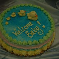 "Baby Duckies Single layer 8"" round cake. All buttercream."
