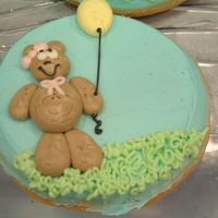 "Teddy Bear Cookie 5"" round cookie iced with buttercream"
