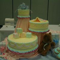 Baby Shower 3 tired baby shower cake decorated with buttercream.