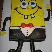 Spongebob In Tuxedo 1/4 sheet decorated in buttercream. The Bride wanted to surprise the groom with Spongebob in a tux...