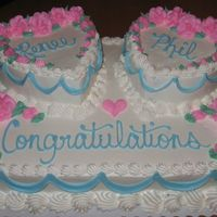"Hearts On A 1/2 Sheet This was a 1/2 sheet with 2 6"" hearts on the top. All buttercream..."