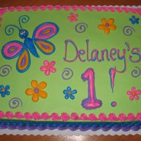 Butterfly Cake 1/2 sheet decorated in buttercream