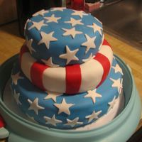 3 Tier 4Th Of July Cake  This was a fun 3 tier cake to make. I experienced a bit of sagging look on the middle tier as I couldn't seem to get the MMF to stick...