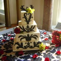 Black And White Wedding Cake Four tiered square Swiss Meringue buttercream with black fondant cut out.