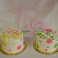 Twins 16Th Birthday Gumpaste high heel shoes. Polka dots made from Fondant. Cakes iced in Meringue buttercream.