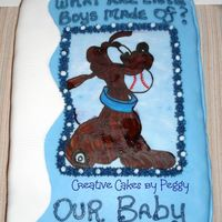 Book Cake For Boy Baby Cake for Baby Shower. Buttercream and fondant. Wafer paper picture.