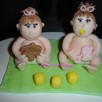 Twin Girl Figures For Baby Shower Cake From Aine's tutorial. Thank goodness I am taking her class in NY in October!!