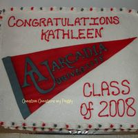 College Grad - Arcadia University   WASC cake with strawberry filling, gumpaste banner