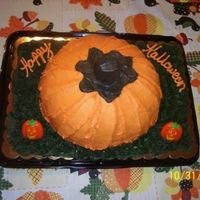 3-D Pumpkin Cake 2 Layer Cake I sculpted to look like a real pumpkin. The stem is cake also.