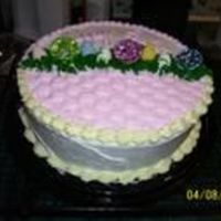 1 Layer Easter Basket Cake This was a simple version of another Easter Basket I did. 1 layer cake with a small amount of basket weave on top. with grass tipping.