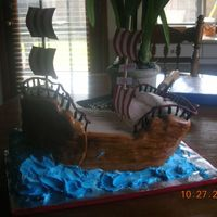 Keaton's Pirate Ship I made this pirate ship for a friend little boy who just turned 2. I was very nervous making this cake, first 3-D sharved cake.... im very...