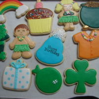 Multi Theme Birthday Cookie Order I made this order for my daughters sister-in-law who was throwing a multi Birthday party for my grandson, his other grandma (irish theme)...