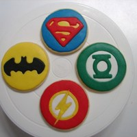 Justice League Cookies Yesterday was my grandson Josh's 8th Birthday and today we did cake and cookies. The cake I ordered from Sam's and asked them to...