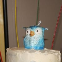 Owl Marzipan covered in white FondX and painted. It was the topper for the birthday cake I did for my friend who's a Rice U graduate.