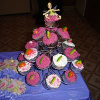 Tinkerbell Cupcake Tower  I made this cupcake tower for my daughter's second birthday party. It was a Tinkerbell Party, so I put a bendable Tinkerbell on the...