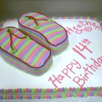 Flip Flops Sheet Cake This was my first try at modeling a cake after flip flops. I think it turned out okay. It was a simple White cake with BC icing. No one...