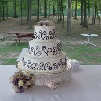 Heather's Cake This was for my Brother-in-law's wedding. I was 8 months preggo, in July, outside wedding with no kitchen, did all the catering and...