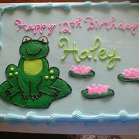 Frog Birthday This is an 11x15 sheet cake - all buttercream.