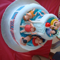 Swimming Pool,water Slide Made this for my daughter's 7th bday. she wanted a pool that had a water slide also. This was the design i came up with. All fondant...