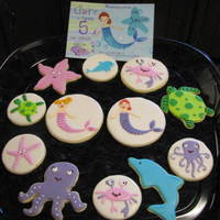 Under The Sea Birthday Cookies NFSC w/ Carmie00 icing, royal details, customer sent me the invitation which she designed from clip art purchased over the internet. She...