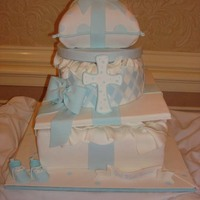 Christening Cake This was a Christening for a baby boy. The mom saw the cake by adven68 and loved it. Mine didn't come out as beautiful as her cake but...