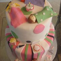 Sleep Over Cake This cake was for a little girl who was having her party at a place called Pinky Toes where they have fake sleep over party's. The mom...