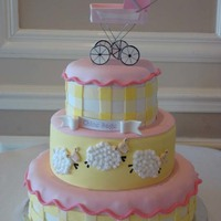 Carriage And Sheep Baby Shower Cake I matched the invitation.