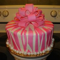 Pink Zebra I used one of those ready made bows (Wilton?) because I ran out of time-airbrushed it pink. I kept trying to match the fondant stripes to...
