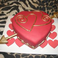 Valentines Day Small 6 inch heart made with fondant and accents painted gold.
