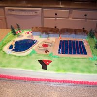 Ymca Pool Grand Opening  French vanilla cake with BC icing - rice krispy houses covered in fondant - Wilton shimmer gel for the water effect - made this for our...