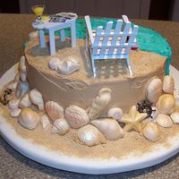 Chesapeake Bay Cake Iii   Back side of cake with sand & white chocolate shells!!!