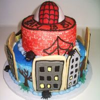 Spiderman Cake  BC and royal icing spiders and webs, sugar cookie buildings. I originally wasn't going for a whimsical look, but that's the way...