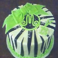 Zebra With Lime Initial cake with lime and zebra. Chocolate cake and Indydebi's buttercream. Rhonda's Ultimate MMF decorations, sparkling sugar,...
