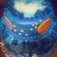 Planet/sky Cake Didn't know where to put this cake. My customer wanted a cake with planets and stars. Bottom tier is German Chocolate and top tier is...