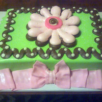 Pink Green Brown Baby Shower Cake Decorated to coordinate with invitation. All buttercream with a fondant bow.