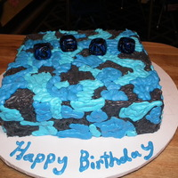 Blue Camo Cake CAMO cake done for a clients first birthday,