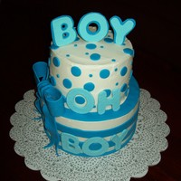 Baby Boy Shower   Butter cake with BC and fondant accents. Gumpaste letters and bow.
