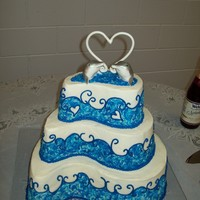 Dolphin Wedding Cake  Chocolate with Choc Hazelnut filling, Vanilla with Mocha filling, and Butter Pecan with Butter Pecan filling, all with buttercream icing....